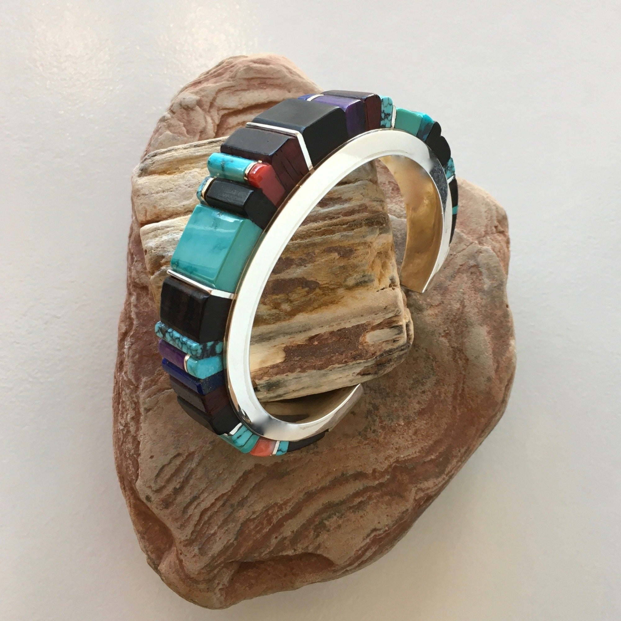 Silver Channel and Precious Stones Inlay Bracelet by Sonwai at Raven Makes Gallery Sisters Oregon, Sowai Bracelet