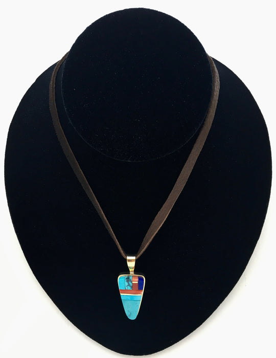 Blue Gem Turquoise, Coral and Lapis Pendant, by Sonwai