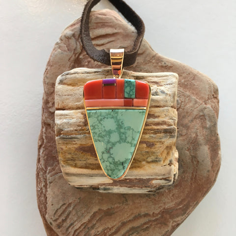 Aqua Green Kingman and Gold Pendant with Inlay, by Sonwai