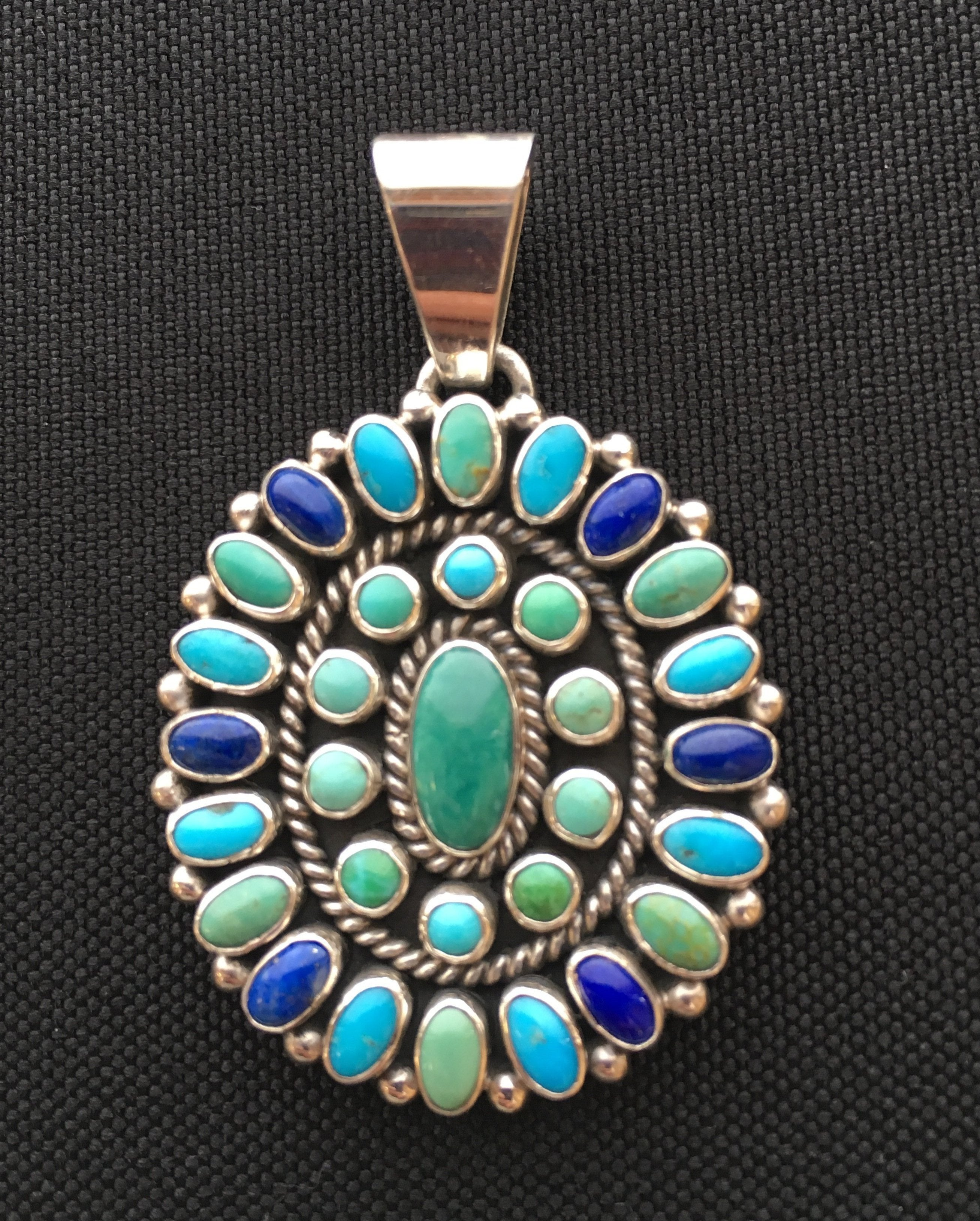 Turquoise Lapis and Varicite Multi-Stone Cluster Oval Pendant, by Dee Nez