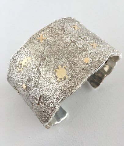Silver and Gold Petroglyph and Storyteller Cuff, by Cody Hunter