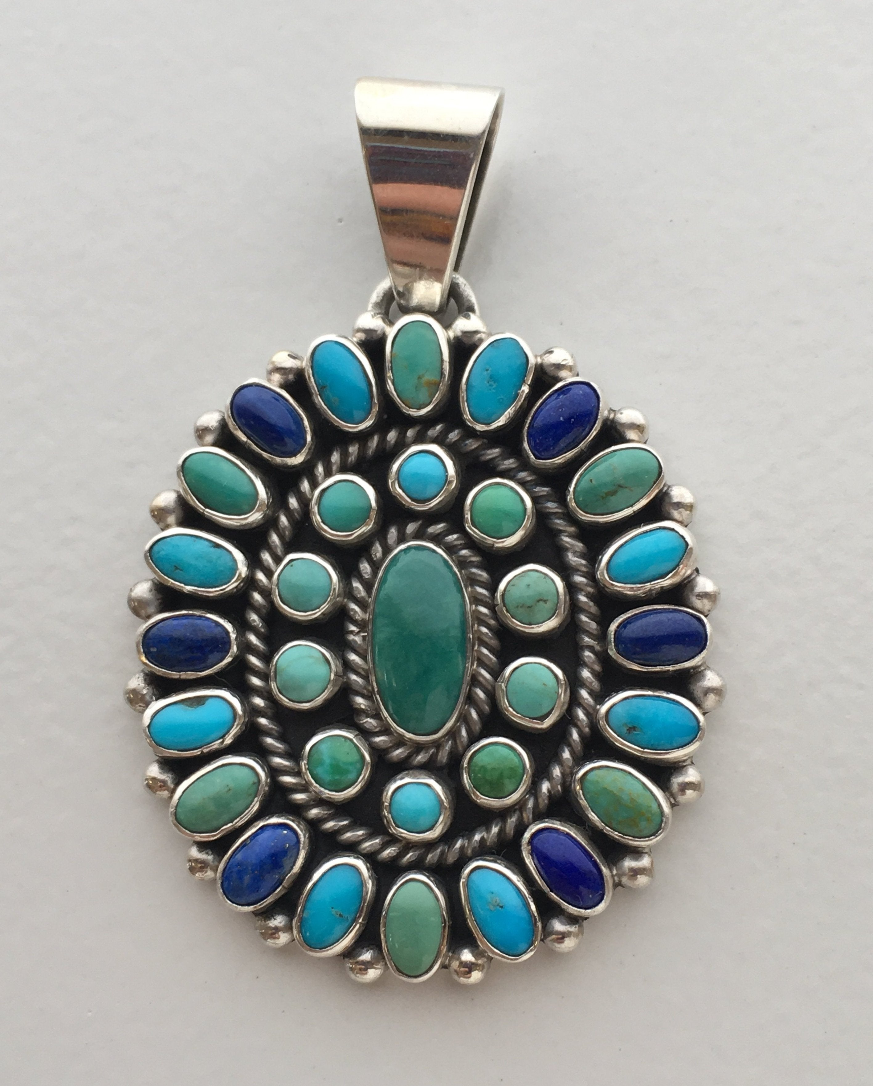 Turquoise Lapis and Varicite Multi-Stone Cluster Oval Pendant, by Dee Nez, turquoise jewelry
