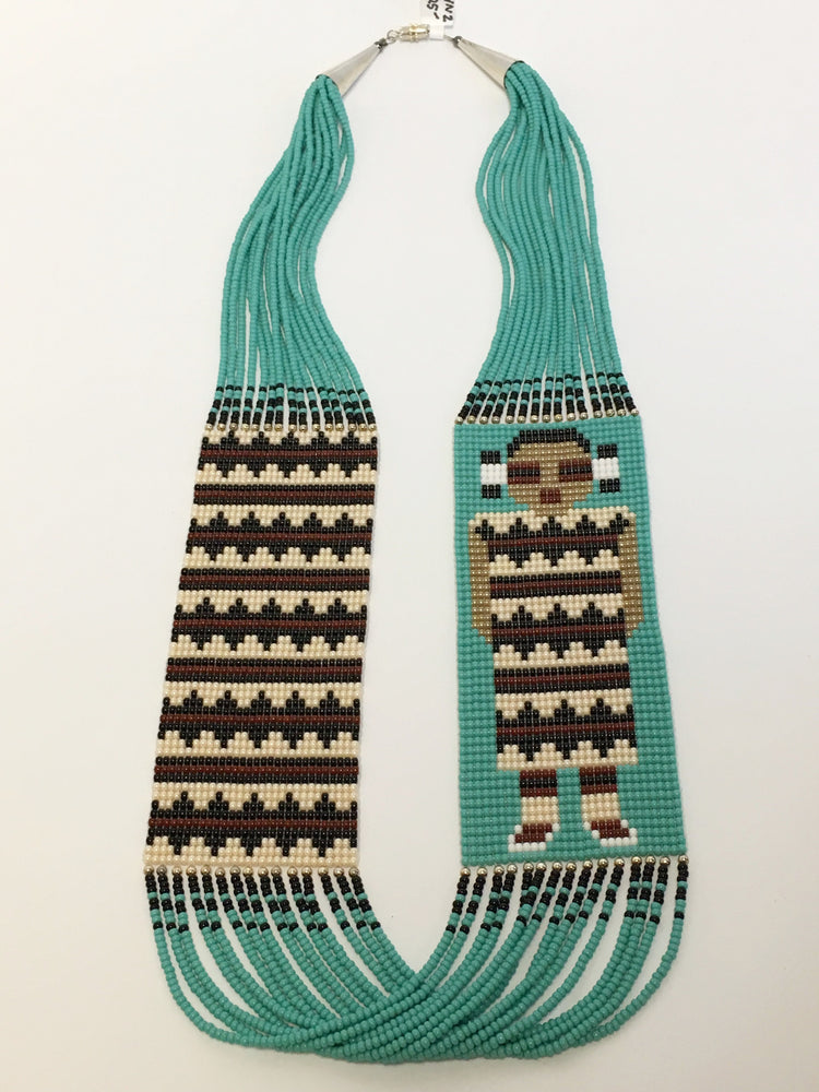 Maiden and Navajo Rug Beaded Necklace, by Janicelynn Yazzie