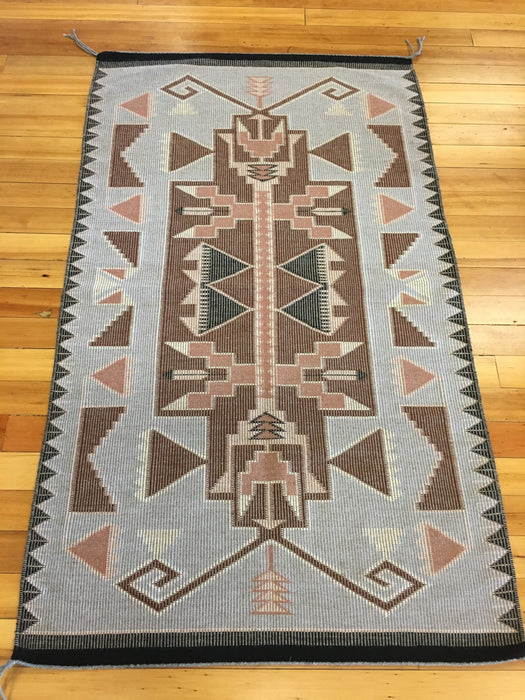 Raised Outline Butterfly Motif Navajo Rug, by Rita Nez