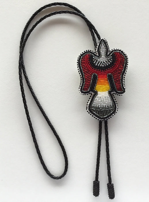 Water Bird Beaded Bolo Tie, by Wilfred Jim, Yakama, Warm Springs