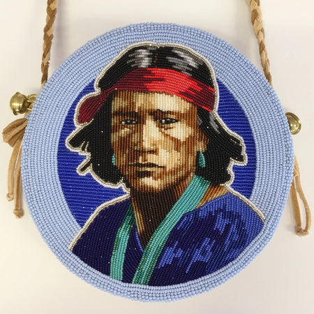 Beaded Native American Portrait Bag, by Jackie Larson Bread, at Raven Makes Native American Art Gallery