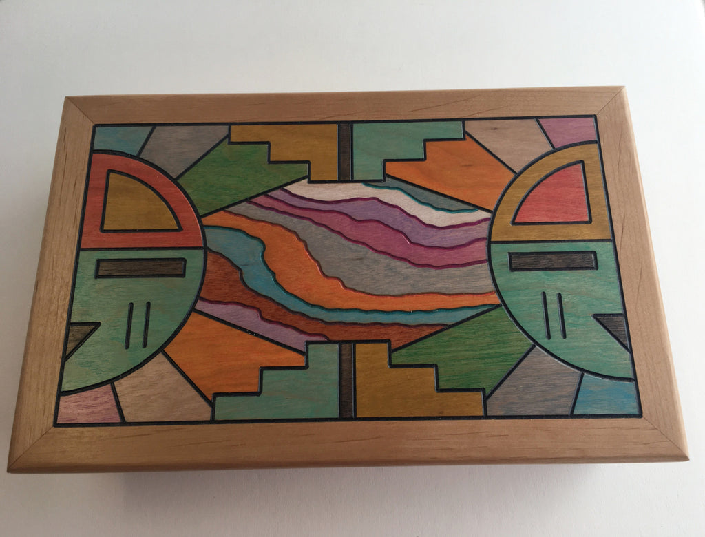 Hopi Sun and Wave Connection Box, by Rick Honyouti
