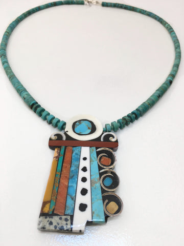 Mosaic Side Stacks Inlay Necklace, by Mary Tafoya