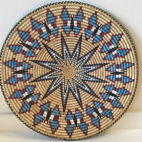 Blue Butterflies Navajo Basket, by Elsie Holiday