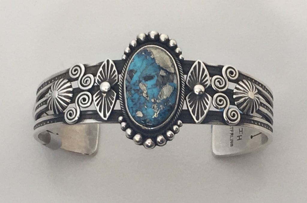 Ithaca Peak Turquoise and Silver Bracelet, by Ivan Howard