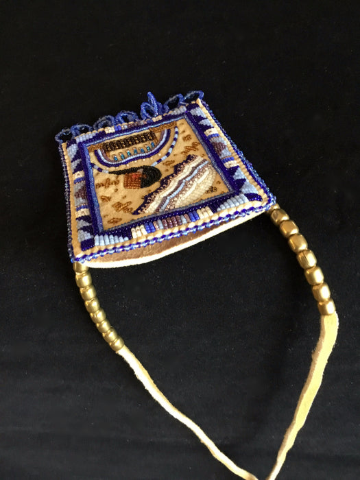 Blue Parasol Beaded Necklace Bag, by Jackie L. Bread