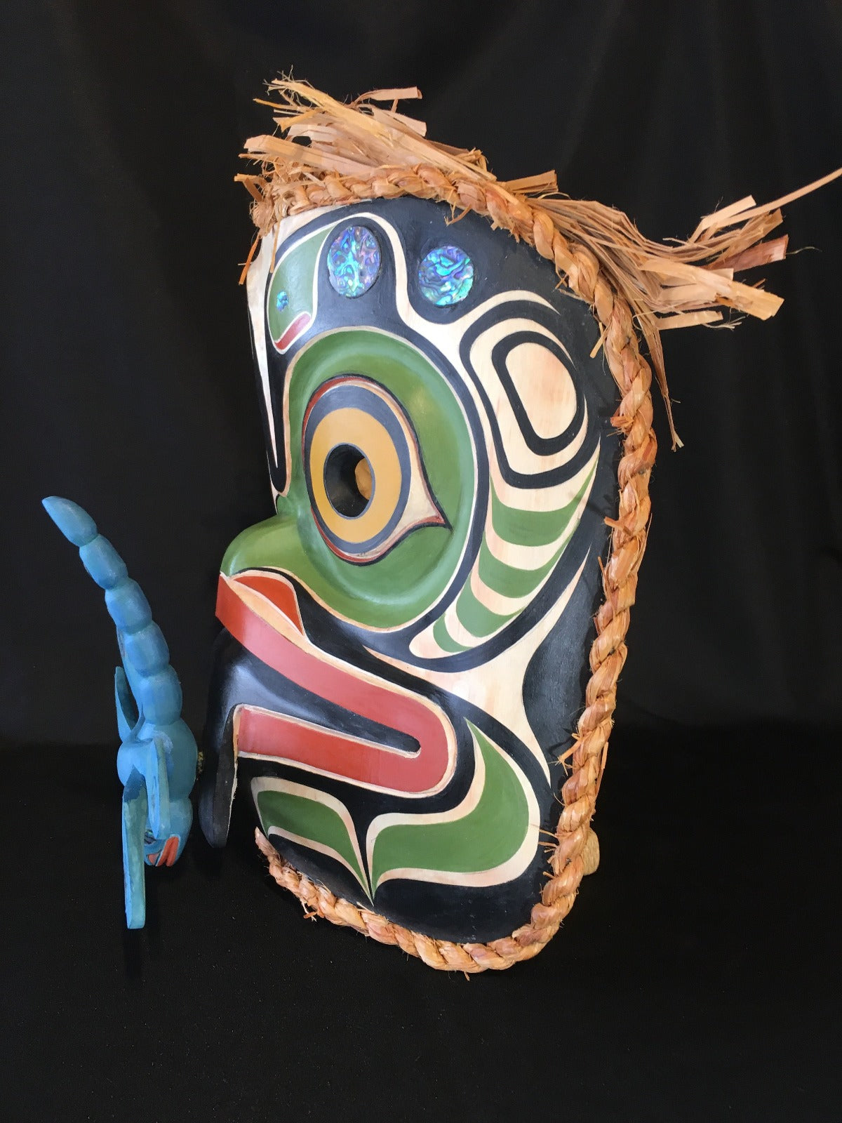 Alder Frog and Dragonfly Mask, by Ryan Morin, Pacific Coast Mask