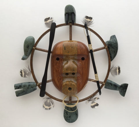 Soapstone Inupiaq Spirit Hunter Mask, by Lenwood Sacchaus