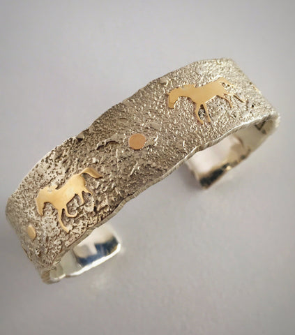 Gold Horses Storyteller Cuff Bracelet, by Cody Hunter