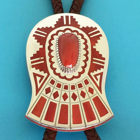 Coral and Silver Bolo Tie, by Vernon Haskie