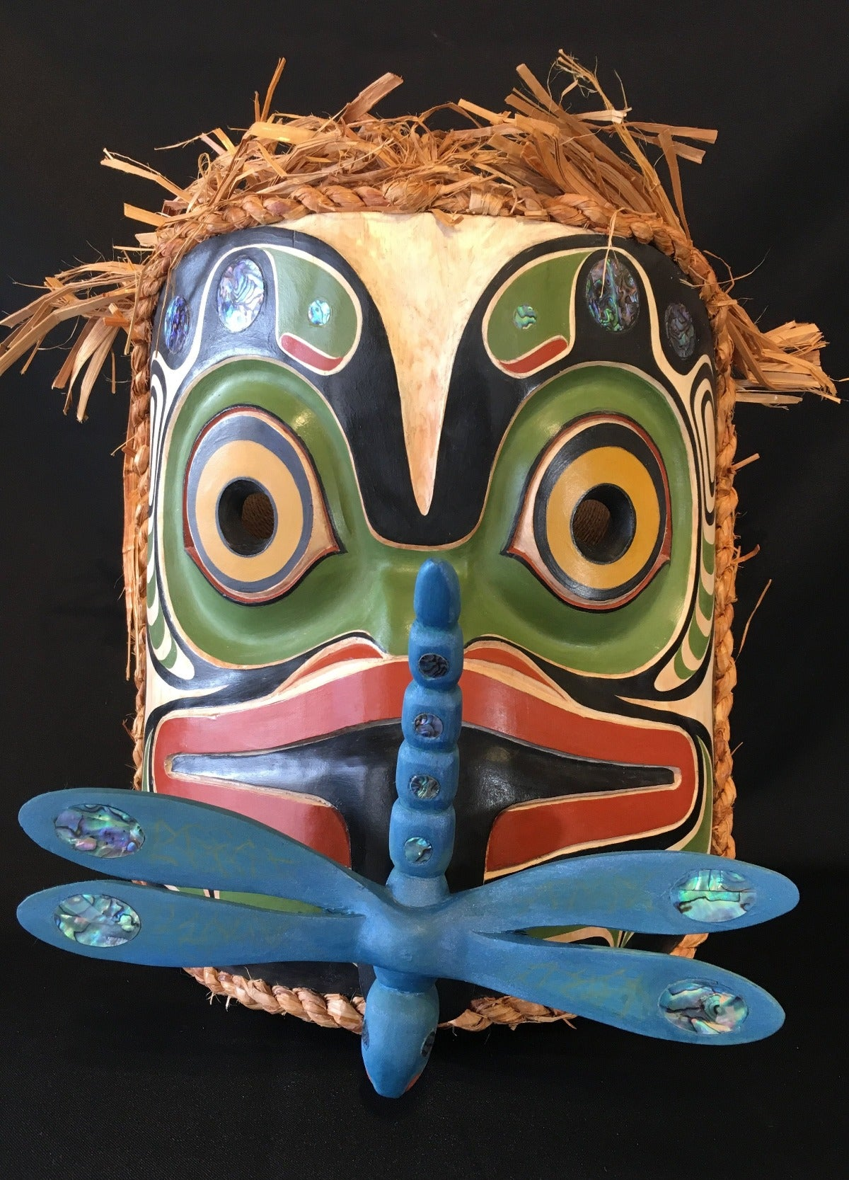 Alder Frog and Dragonfly Mask, by Ryan Morin, Pacific Coastal Mask