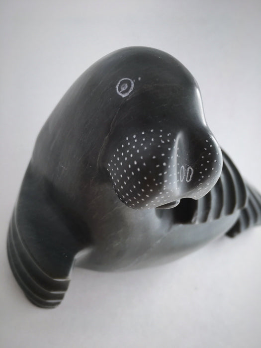 Inuit Seal Soapstone Carving, by Johnny Aqaitusuk