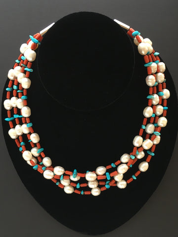 Cultured Pearls, Coral and Sleeping Beauty Turquoise Chip Necklace, by Marie Lee
