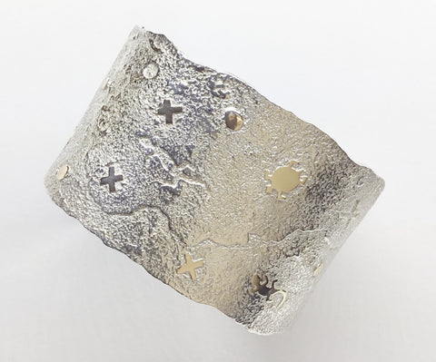Silver and Gold Petroglyph and Storyteller Cuff Bracelet, by Cody Hunter