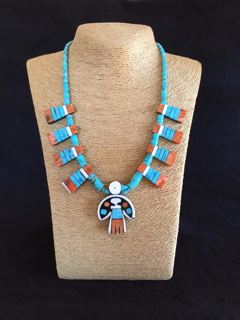 Thunderbird Turquoise and Coral Necklace, by Mary Tafoya