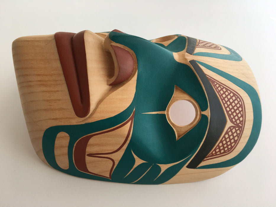 Yellow Cedar Portrait Mask, by David Boxley