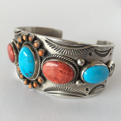 Sterling Silver, Spiny Oyster and Turquoise Bracelet, by David Lister