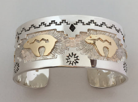 Golden Bears Cuff Bracelet, by Fortune Huntinghorse