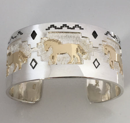 Silver and 14k Gold Horse Cuff Bracelet, by Fortune Huntinghorse, Wichita