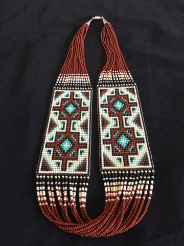 Double Navajo Rug Design Beaded Necklace, by Janicelynn Yazzie