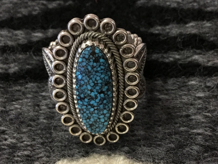 Spiderweb Kingman Turquoise Ring, by Ivan Howard