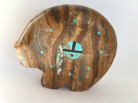 Jasper and Turquoise Bear Zuni Fetish