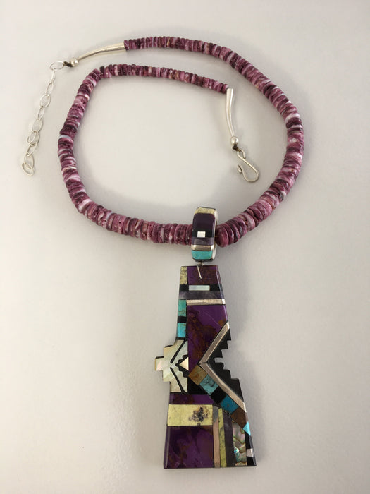 Purple Mosaic Inlay Necklace, by Warren Nieto