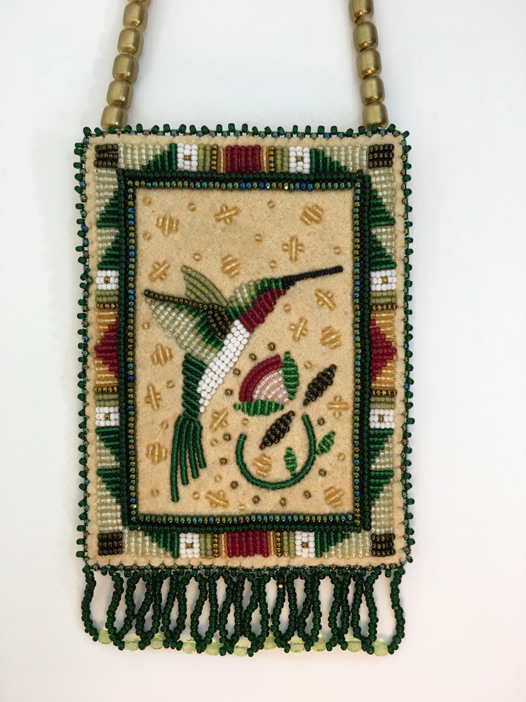 Beaded Hummingbird Necklace Bag, by Jackie L. Bread