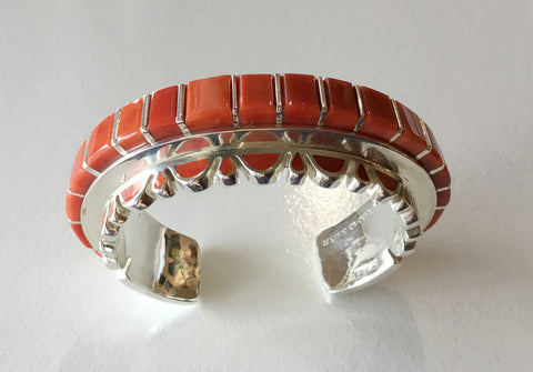 Coral and Silver Cuff, by Vernon Haskie