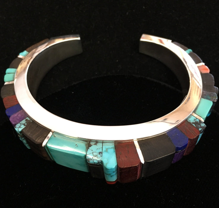 Silver Channel Inlay of Precious Stones and Exotic Woods Bracelet, by Sonwai