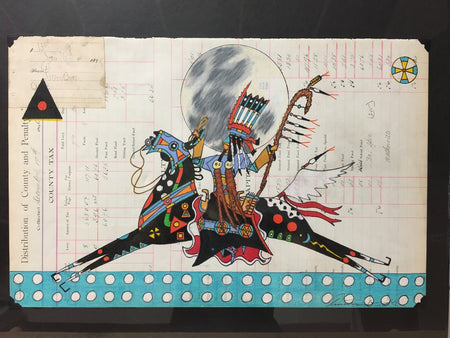 Ledger Art by Terrance Guardipee at Raven Makes Gallery; Blackfeet Artists Terrance Guardipee