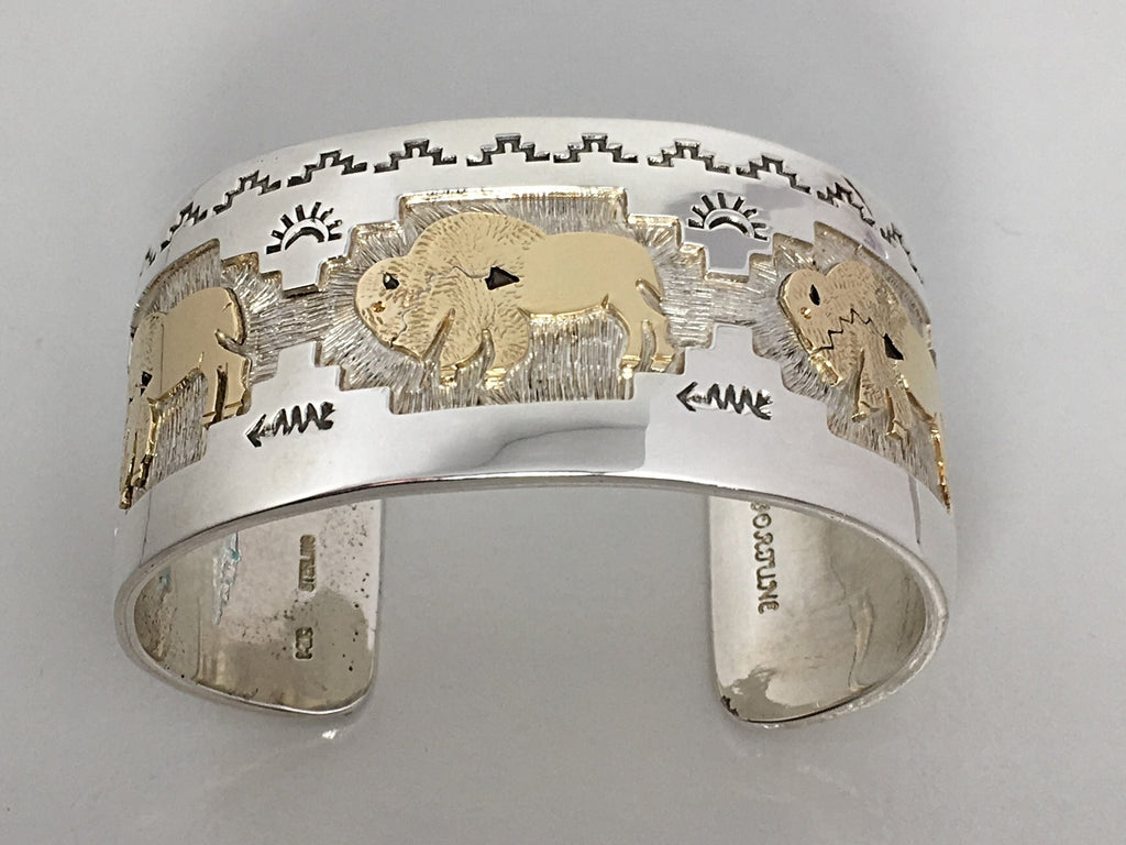 Gold and Sterling Bison Cuff, Native American Jewelry