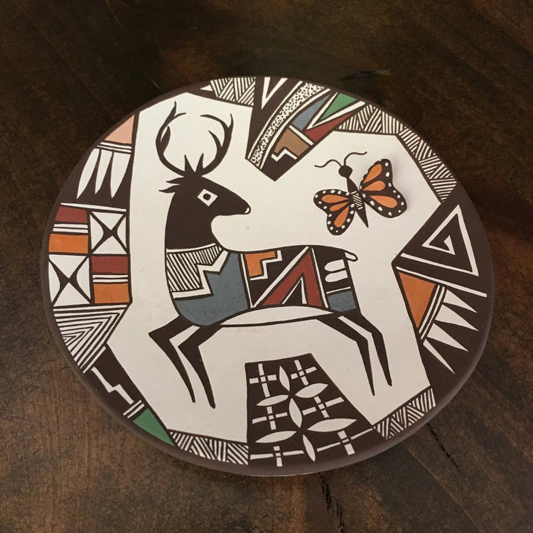 Acoma Fine Line Deer and Butterfly Plate, by Carolyn Concho