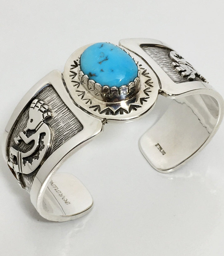 Kokapelli Silver and Bisbee Bracelet, by Fortune Huntinghorse
