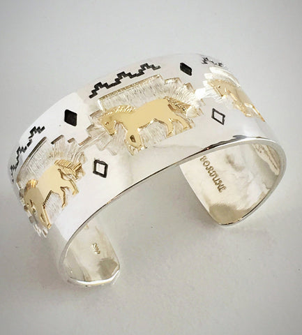 Silver and 14k Gold Horse Cuff Bracelet, by Fortune Huntinghorse