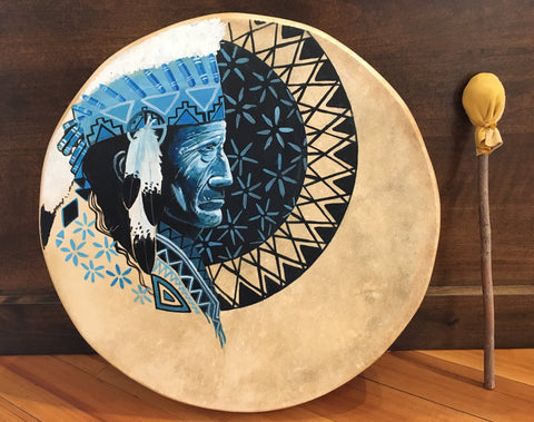 Taos Made, Navajo Painted Deer Hide Drum, by Doug Yazzie
