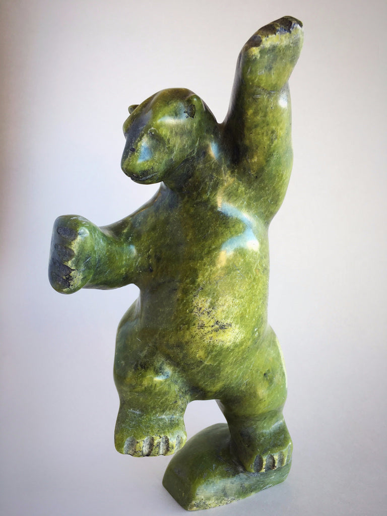 Inuit Dancing Bear, Serpentine Bear Inuit Carving