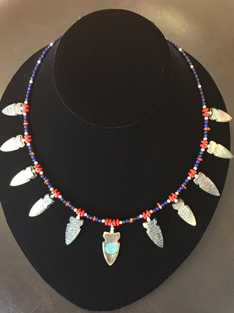 Mother of Pearl Shell Arrowheads Necklace, by Todd Westika