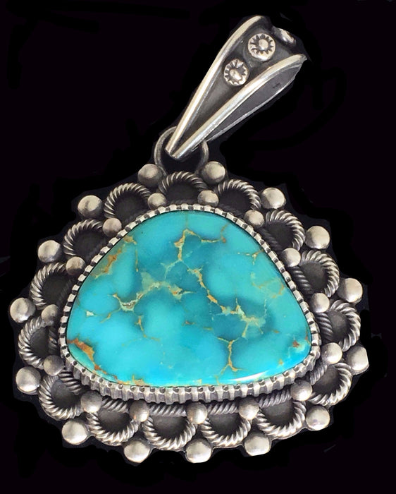 Kingman Turquoise and Silver Pendant, by Ivan Howard