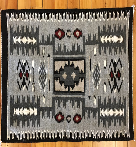 Storm Pattern Navajo Rug, by Lillie Begay