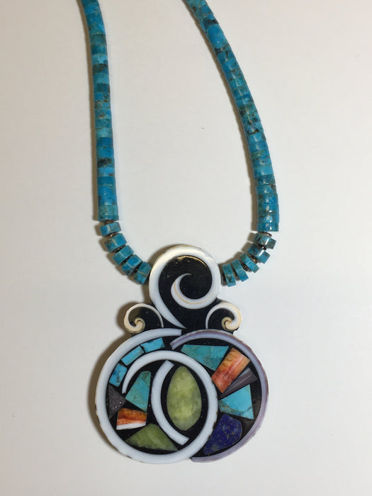 Mosaic Inlay Shell Swirls Necklace, by Mary Louise Tafoya