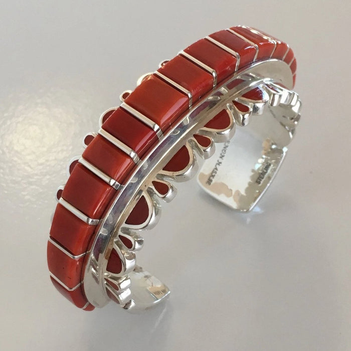 Coral and Silver Cuff Bracelet, by Vernon Haskie