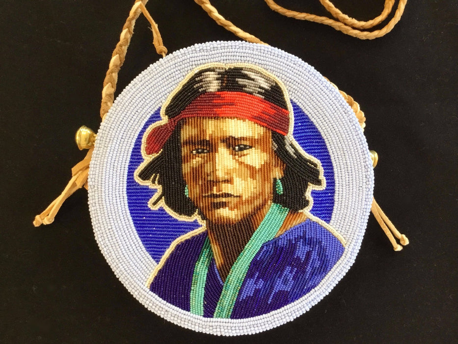 Jackie Larson Bread Beaded Portrait Bag at Raven Makes Gallery, Sisters, Oregon