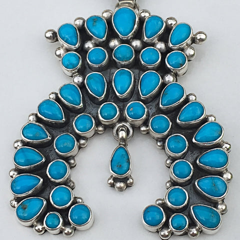 Sleeping Beauty Turquoise Naja Pendant, by Dee Nez