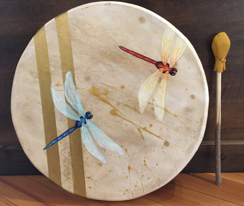 Dragonflies Deer Hide Drum, by Kandis Quam